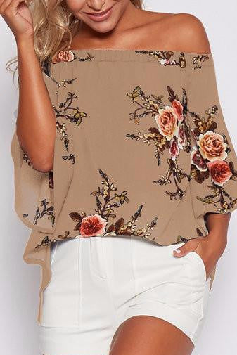 Khaki Floral Print Off Shoulder Butterfly Sleeve Split Back Blouse