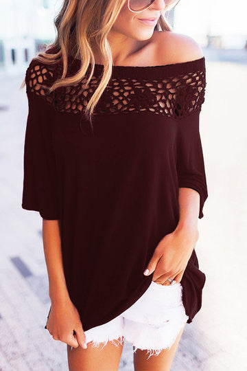 Burgundy Half-Sleeve One Shoulder Hollow Out Top