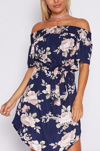 Navy Off Shoulder Floral Print Self-Tie Curved Hem Dress