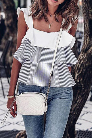 Black and White Stripe Contrast Layered Flouncy Top