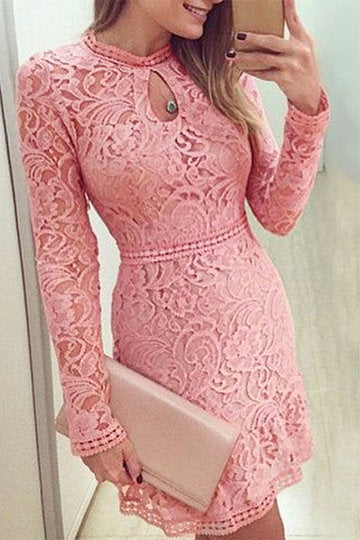 Pink High Cut Neck Lace Cut Out Long Sleeve Mini Dress