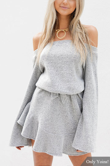 Grey Off Shoulder Bell Sleeve Dress