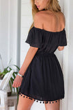 Black Off Shoulder Layered Tassel Trim Dress