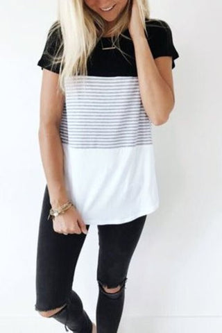 Black Contrast Short Sleeve Vertical Stripe Tee Shirt