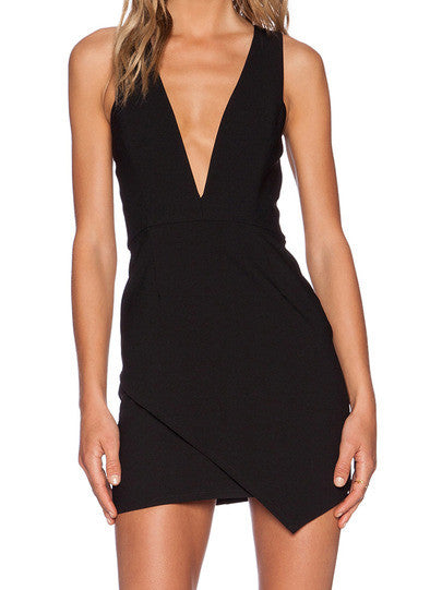 Black Bodycon Dress with Deep V Neck Black Sexy Party Holiday Dress - Crystalline