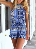 Bohemian Casual Loose Romper Playsuit - Crystalline