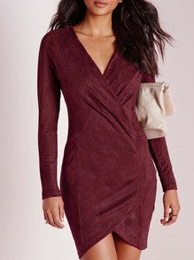Burgundy Bodycon Dress Long Sleeve V Neck Holiday Party Dress - Crystalline