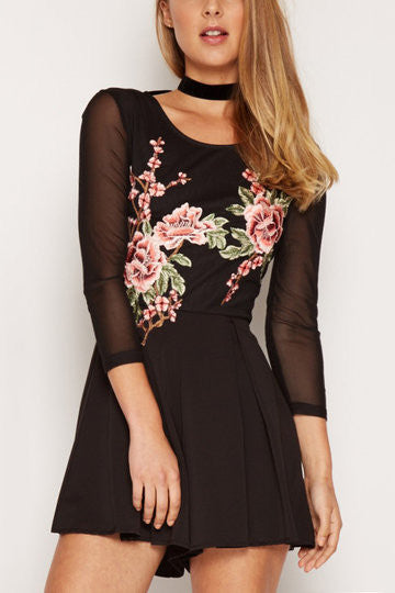 Black Floral Embroidery Mesh Romper