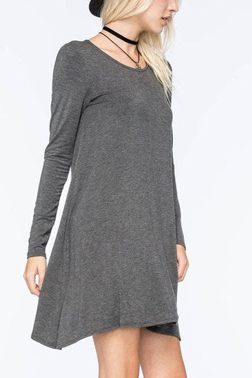 Grey Round Neck Long Sleeve Loose A-Line Dress