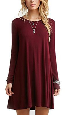 Casual Red Shift Long Sleeve Dress - Crystalline