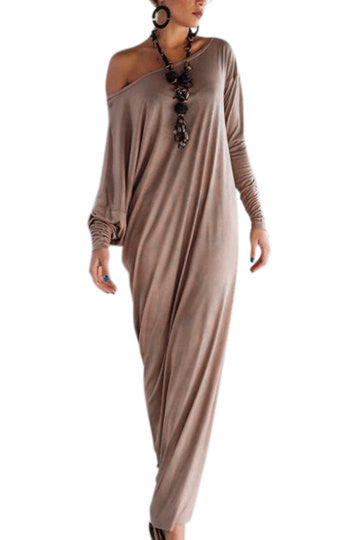 Khaki Drop Shoulder Long Sleeve Maxi Dress