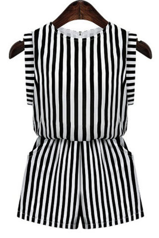 Black and White Stripe Side Pocket Button Back Playsuit