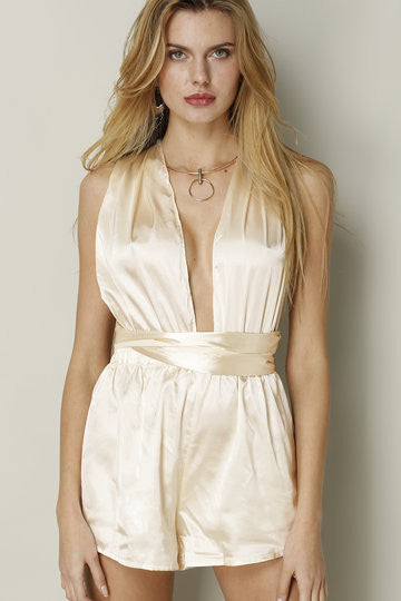Gold Deep V-Neck Crossed Back Playsuit