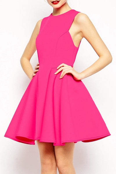 Candy Color High-Waisted Skater Dress - Crystalline