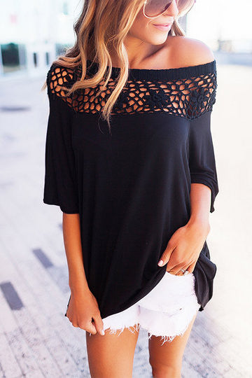 Black Half-Sleeve One Shoulder Hollow Out Top