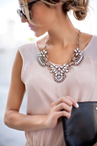Floral Rhinestone Collar Necklace - Crystalline