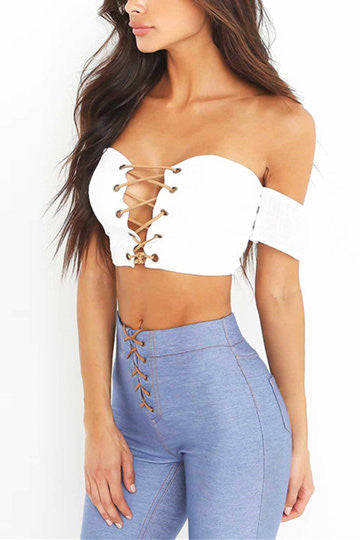 34a295ce0ff10 White Off Shoulder Leather Lace Up Crop Top – Crystalline