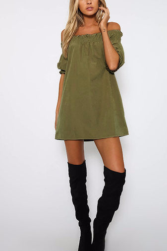 Army Green Off Shoulder Lantern Half Sleeve Mini Dress