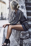 Chic Geometric Print Lace-up Front Romper - Crystalline