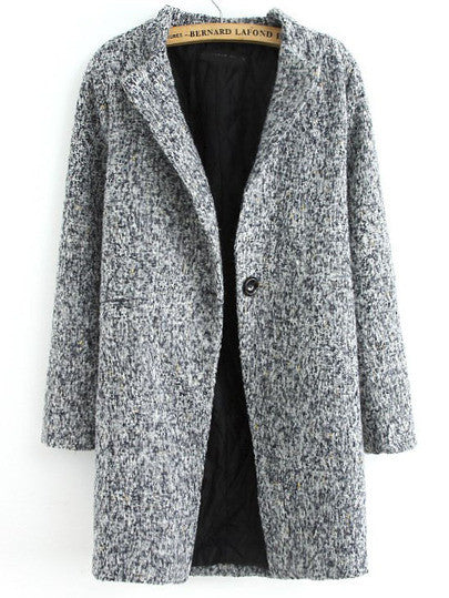 Coat Grey Long Tweed Button Fall Winter Warm Fashionable Jacket - Crystalline