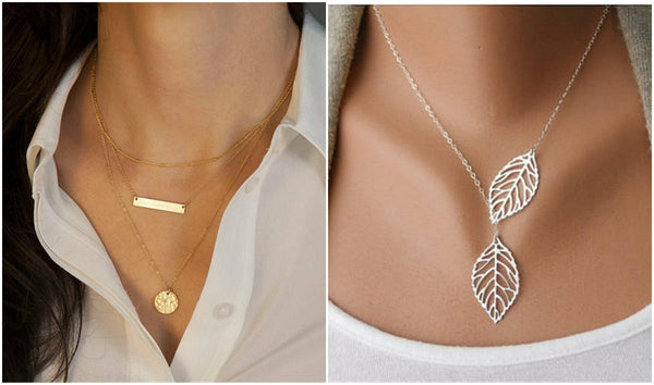 Set of Leaf Pendant + Bar Pendant Necklaces (2 pcs in One Set) - Crystalline