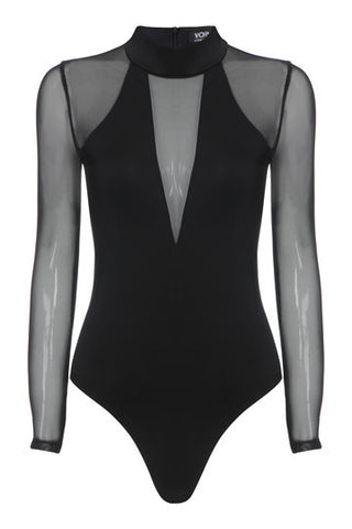 Black Plunge Neck See-Through Bodysuit