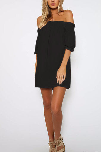 Black Off Shoulder Lantern Half Sleeve Mini Dress