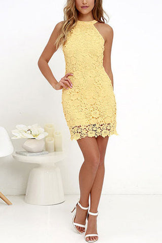 Yellow Full Lace Detail Halter Neck Zip Back Mini Dress