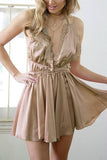 Khaki V Neck Ruffle Backless Playsuit
