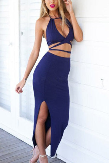 Navy Cut Out Halter Backless Side Split Maxi Dress