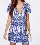 Blue Short Sleeve V Neck Vintage Print Dress - Crystalline