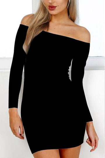 Black Off Shoulder Long Sleeves Mini Bodycon Dress