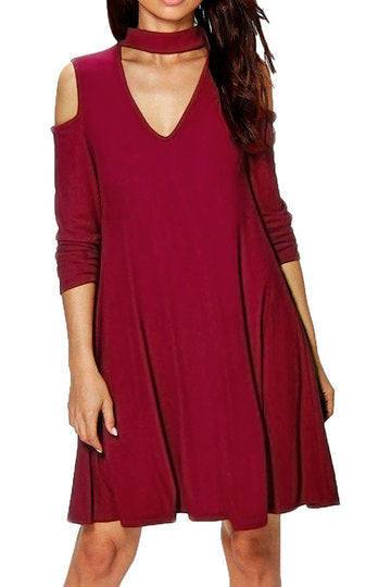 Burgundy Choker Neck Cut-Out Cold Shoulder Swing Dress