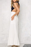 Blue and White High Neck Maxi Bottom Dress