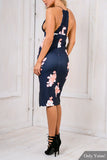 Navy Floral Racer Back Split Hem Midi Dress