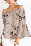 Pink Floral Print Off Shoulder Flared Sleeves Top