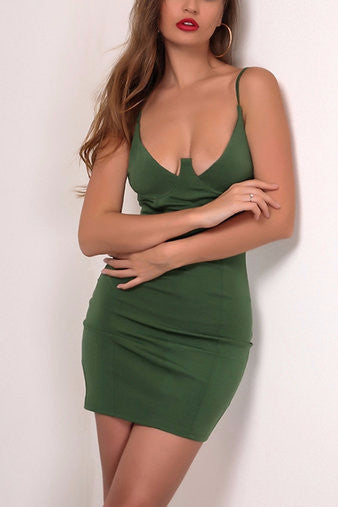 Green Spaghetti Adjustable Strap Bustier Bodycon Dress