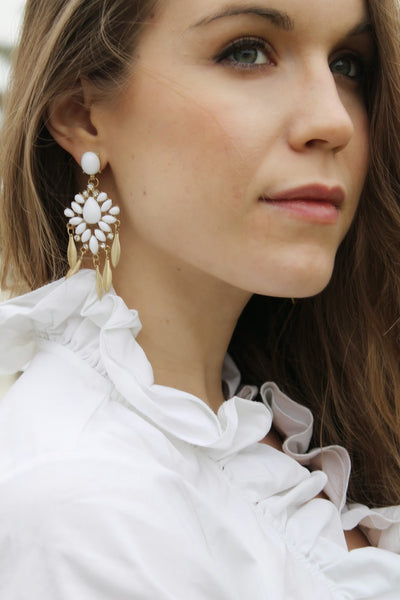 Lifestyle- White Gemstone Drop Earring - Crystalline