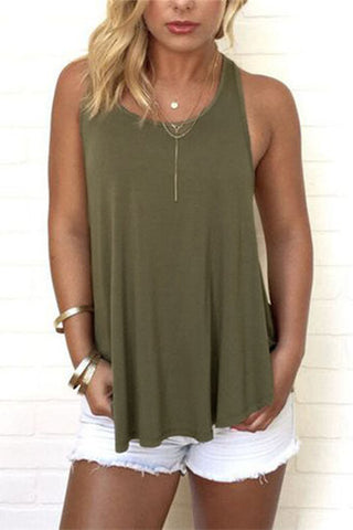 Army Green Round Neck Sleeveless Flutter Cut-out Back Top