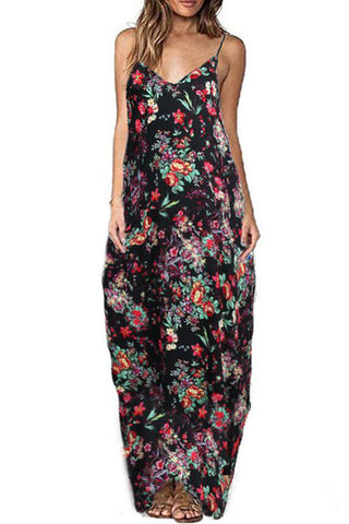 Black Floral Print V-Cut Neck Spaghetti Strap Cocoon Maxi Dress