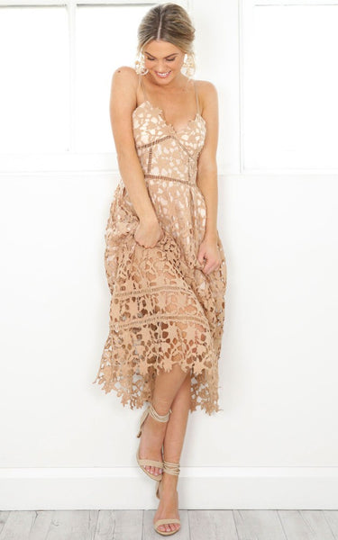 Romantic Hollow out Lace Dress - Crystalline