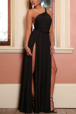 Black One Shoulder M-Split Backless Maxi Dress