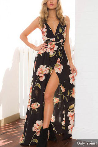 Black Floral Print Plunge Neckline Backless Maxi Dress