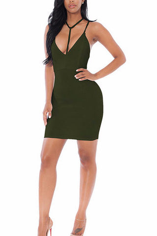 Army Green Double V-Neck Adjustable Strap Bodycon Dress