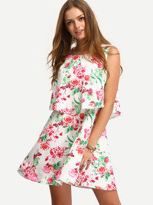 Multicolor Sleeveless Flower Print Dress - Crystalline
