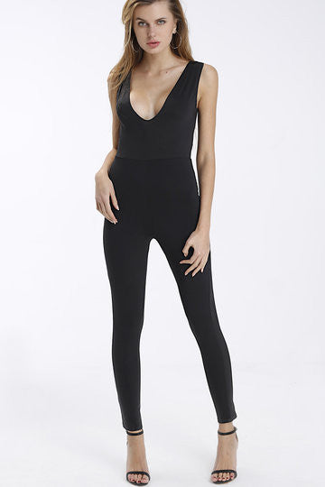 Black V-Neck Sleeveless Fitted Jumpsuit