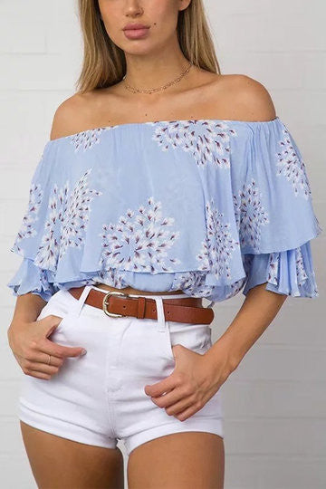 Blue Off Shoulder Flower Print Layered Flouncy Top