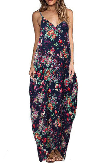 Navy Floral Print V-Cut Neck Spaghetti Strap Cocoon Maxi Dress