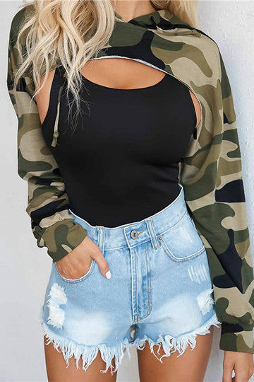Green Camo Long Sleeve Cut Out Front Hoodie Top