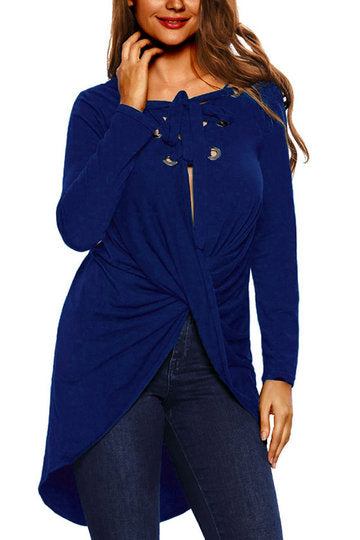 Blue Long Sleeve Lace-Up Eyelet Knot Front High Low Shirt